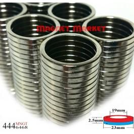 Çap 23mm X Del.Çapı 19mm X Kalınlık 2,5mm Neodymium Magnet