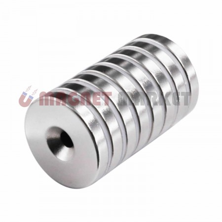 Çap 30mm X Delik çap10/5,5 X Kalınlık 5 mm Neodymium Magnet  (havşadelik)