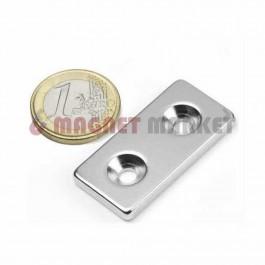 En 40mm X Boy 20mm X Delik çap 11/5,2 X Kalınlık 5 mm Neodymium Magnet  (havşadelik)