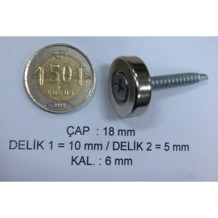 Çap 18mm X Delik çap 10/5,5 X  Kalınlık 5mm Neodymium Magnet  (havşadelik)